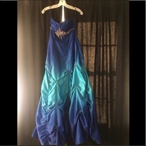 Blue prom dress with silver detailing-size 5/6